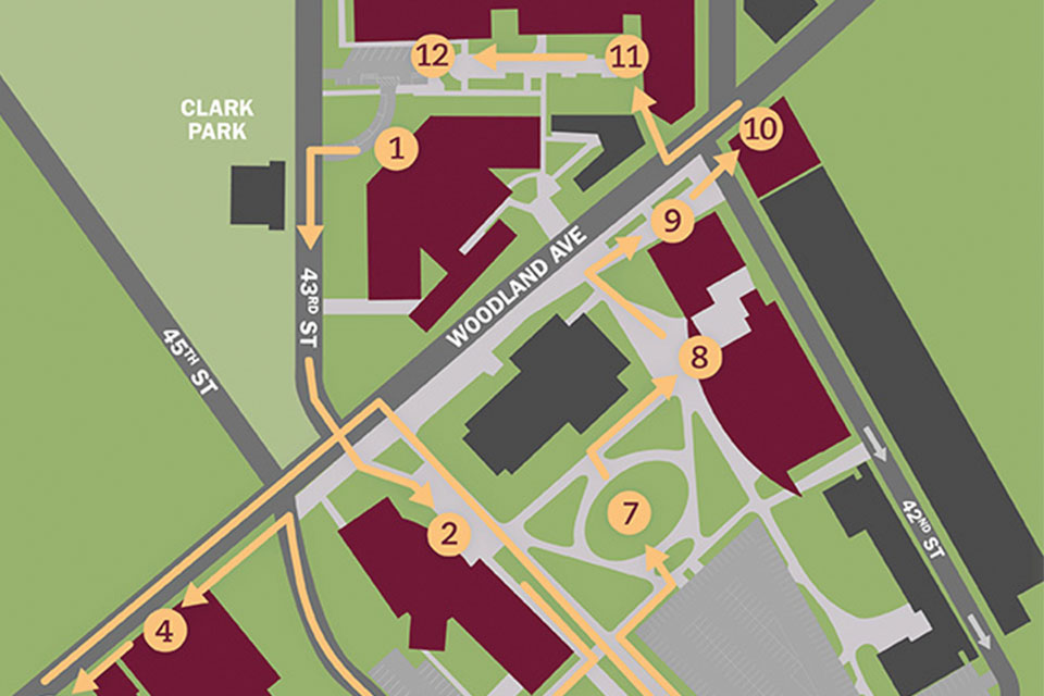 A map of USciences' campus