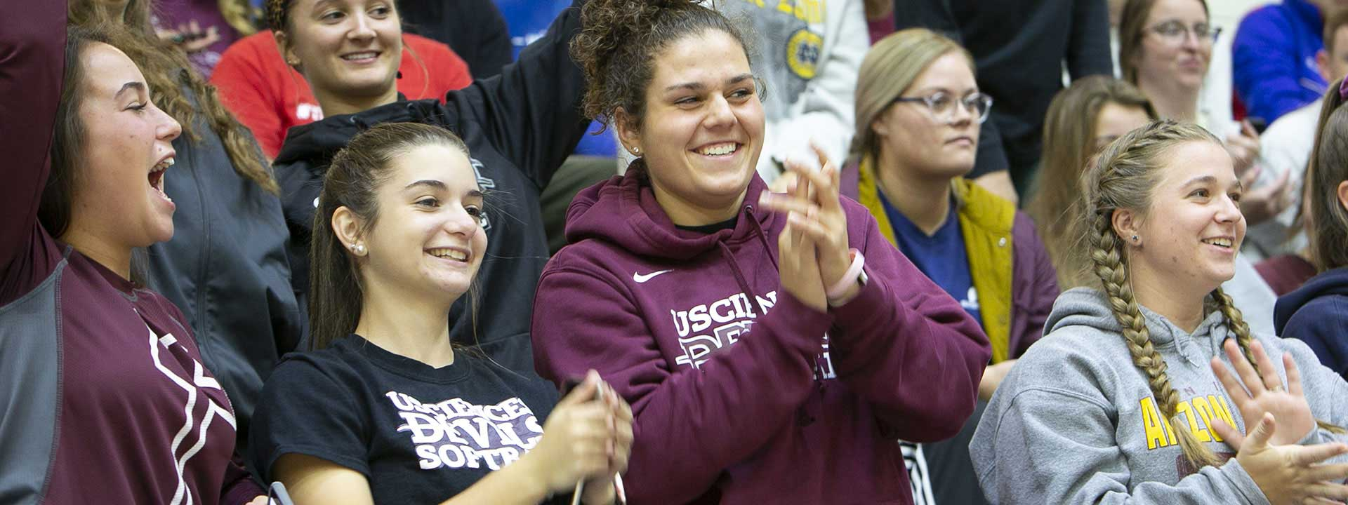 USciences students at the ARC cheering on the Devils